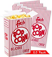 Set of 25 - Close Top Movie Party Popcorn Boxes, Red and White Stripes, Movie Theater Night, Carnival Circus Party Favors,
