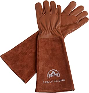 Legacy Gardens Leather Gardening Gloves for Women and Men   Thorn and Cut Proof Garden Work Gloves with Long Heavy Duty Gauntlet   Suitable for Thorny Bushes Cacti Rose Pruning - Large Brown