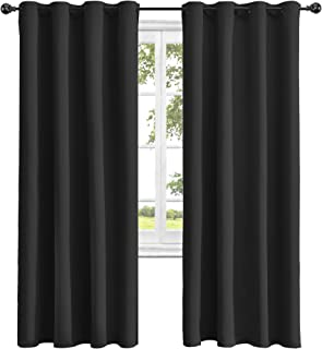 Obstal Thermal Insulated Blackout Curtains - Room Darkening Noise Reducing Grommet Curtain Panels for Bedroom, Black, 52 x 84 Inch, 2 Panels