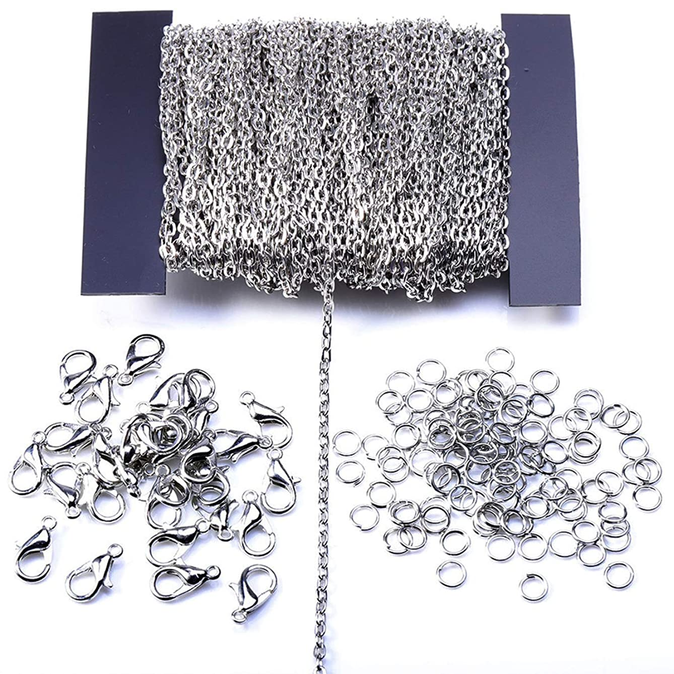 Ginooars 12m 39FT Cable Chain Link Jewelry Making Chains with 30pcs Lobster Clasps and 100pcs Jump Rings for Necklace Jewelry Pendant Accessories DIY Making 2x3mm