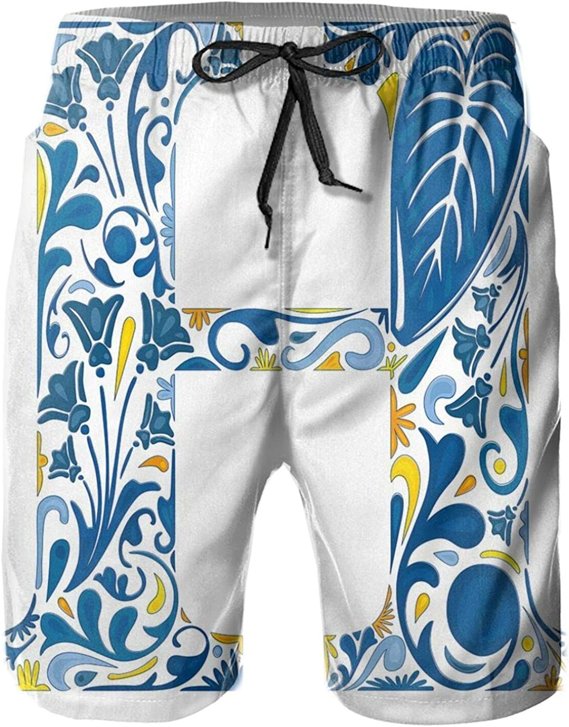 MUJAQ Azulejo Frame Flowers and Leaves Abstract Color Scheme Portuguese Inspired Mens Swim Trucks Shorts with Mesh Lining,M