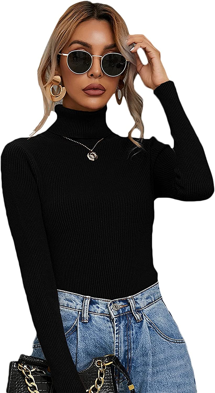 SheIn Women's Long Sleeve Lightweight Pullover Turtleneck Slim Sweater Tee Tops