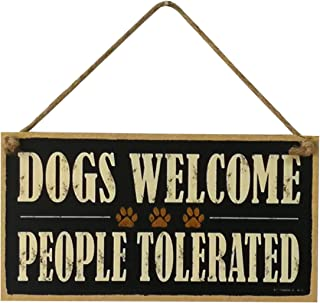 VORCOOL DOGS WELCOME PEOPLE TOLERATED Wood Sign Farm Decorative Plaque Hanging Board