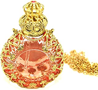 Czech Jewelled Decorative Floral Light Pink Perfume Oil Bottle Holder Necklace/pendant