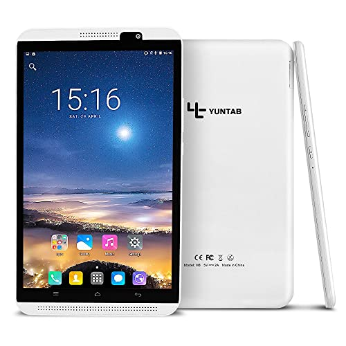 Yuntab H8 Tablette 4g 8 Pouces IPS écran Tactile Tablet PC Android 7.0 MT6735P Quad Core 2+16Go/mémoire, Support WiFi, GPS, G-Sensor, P-Sensor, 3D Jeux, Google Play Store,Youtube (Blanche)