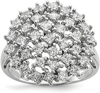 Plata de Ley rodio Zirconia cúbico anillo–Anillo Tamaño opciones gama: L a P
