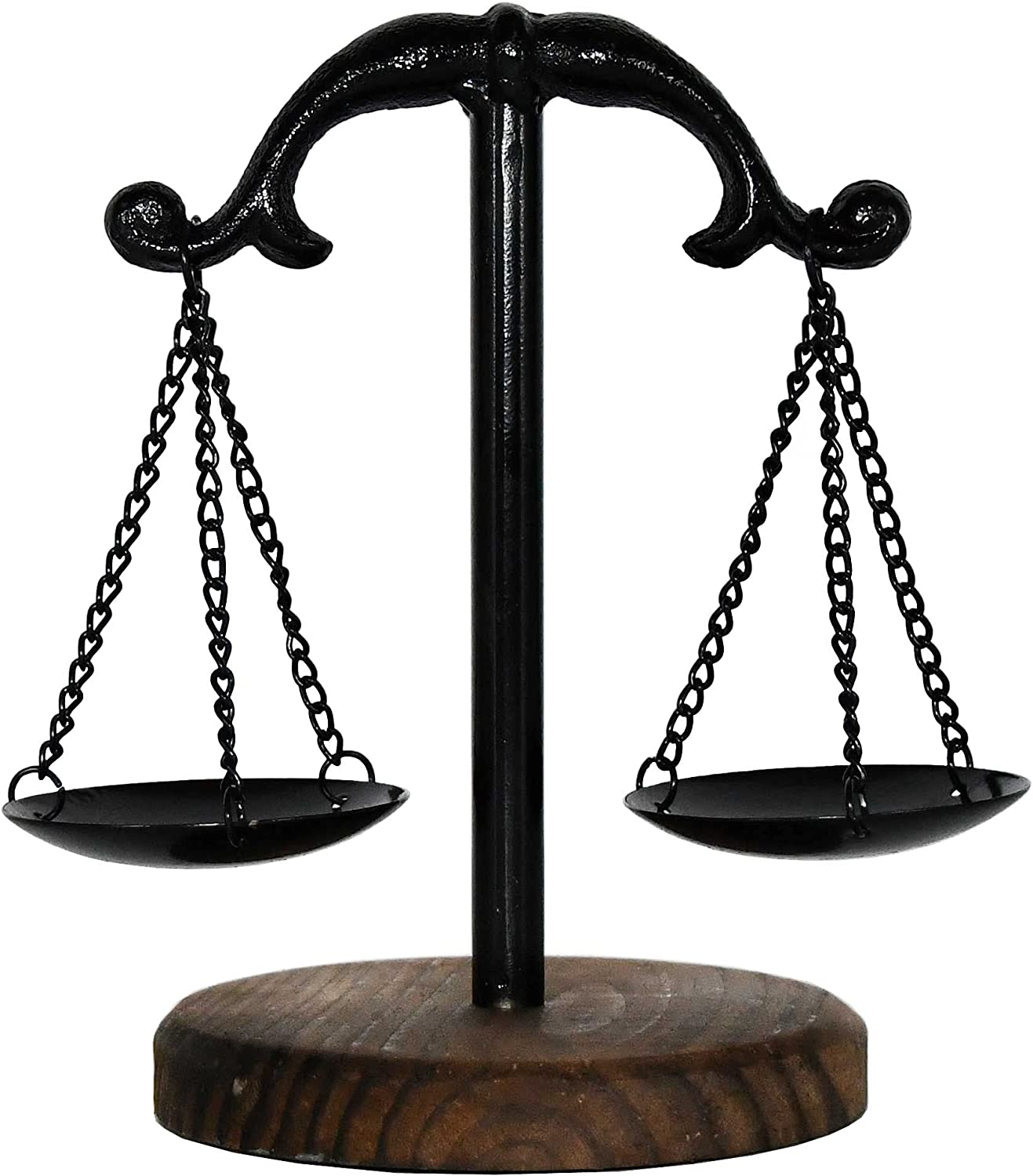 Owlgift Vintage Style Metal Libra Jewelry Display Tray w/Wooden Base Cosmetic Organizer Storage, Lawyer Scale of Justice, Farmhouse Candleholder, Home Décor Antique Weight Balancing Scale – Black