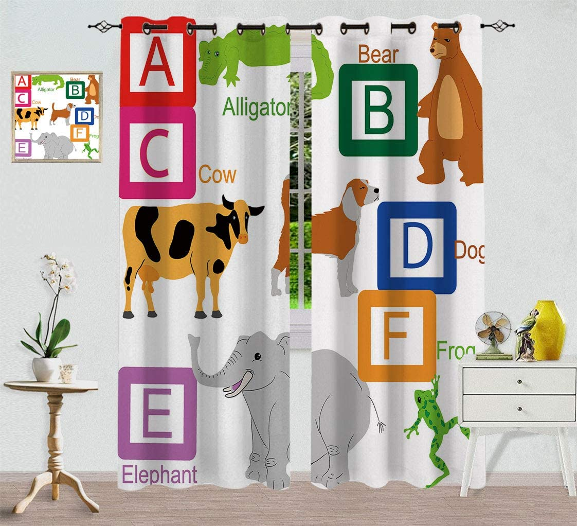 Hydaprint Educational Custom Long Beach Mall Blackout At the price of surprise Letters Alphabet Curtain