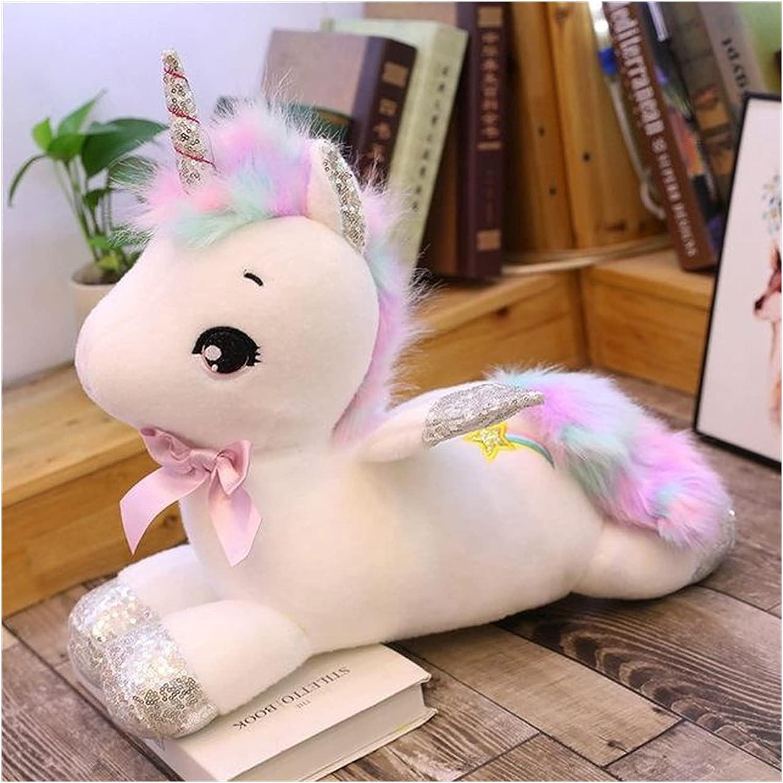 MNYHJDS Amantes Cumpleaños de cumpleaños Muñeca Almohada Peluche Juguete Pony Donkey Ragdoll Muchacha Dormir Suave Relleno Animal Caballo con alas Muñeca 30cm-80cm k