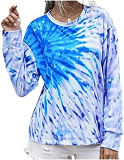 HEFASDM Women's Tshirt Tie-Dye Flower Printed Round Neck Lounge Tees Shirt