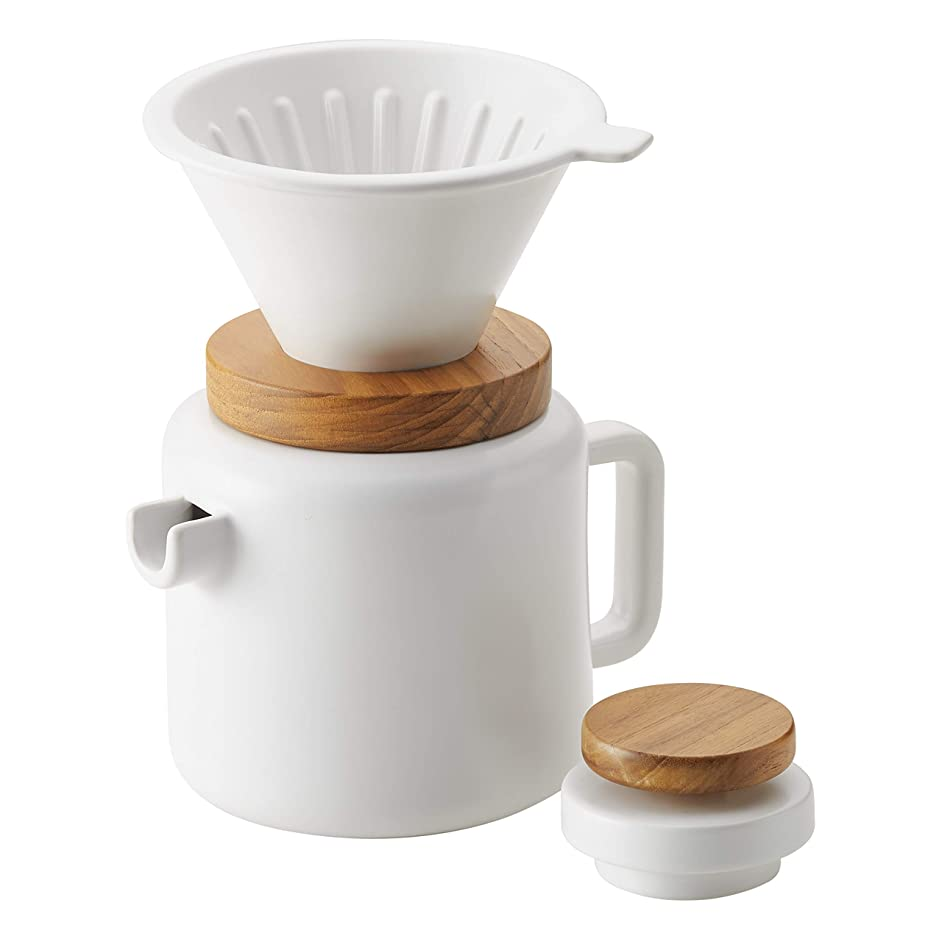 BonJour 47955 4-Cup Pour Set Stoneware Coffee Maker, Matte White
