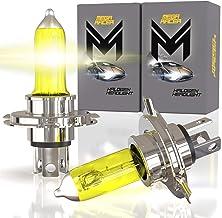 Mega Racer H4/9003/HB2 Halogen Headlight Bulbs - 3000K Super Yellow 12V 100W/90W 150% Brighter Xenon, Standard Halogen Rep...