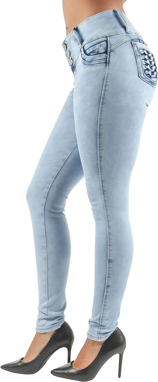 Women's Juniors/Plus Colombian Design Butt Lift Push Up Mid Waist Skinny Jeans