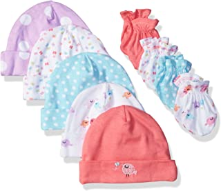 Baby Girls' 9-Piece Cap and Mitten Bundle