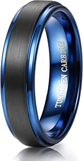 6MM Mens Black Brushed Blue Tungsten Rings Wedding Band Promise Ring High-Polish Finish Size 6-14