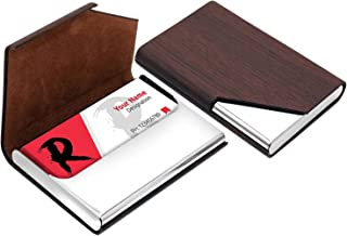 Storite Leather Stainless Steel Business Visiting Name Card Holder Corner Cut for Men & Women (Brown, 9.5X 1.5X 6.5 cm)