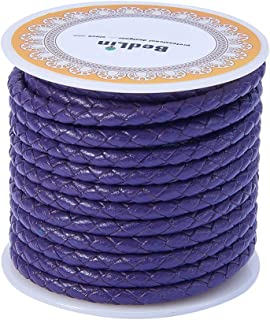 PandaHall Elite 5.5 Yard 4mm Round Folded Bolo PU Braided Leather Cord Bolo Tie for Necklace Bracelet Jewelry Making Purple