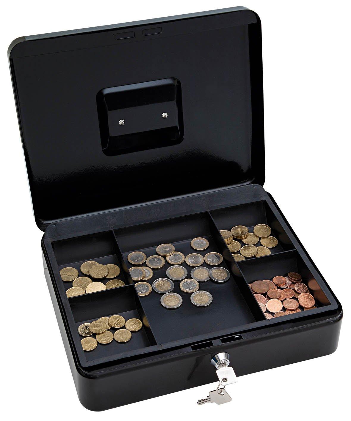Wedo 145421X - Caja para dinero (30 x 24 x 9 cm, 5 compartimentos), color negro: Amazon.es: Oficina y papelería