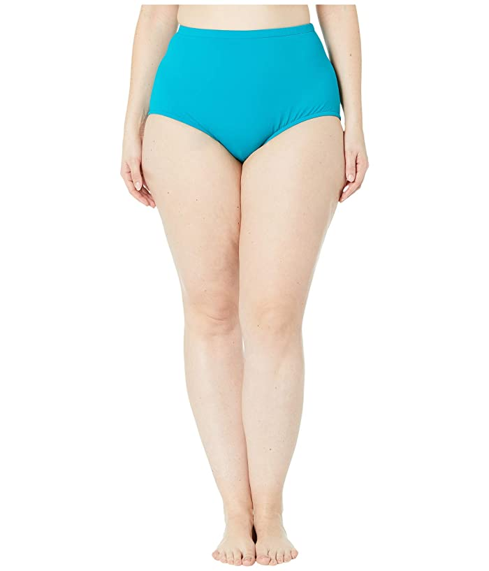 Maxine of Hollywood Swimwear Plus Size Solids Separate Full Pant Bottoms (Emerald) Women