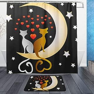 NUXIANY Shower Curtain Set with Hooks, Cute Cats Black Tomcat White Pussycat Bathroom Mat Set Decor Bath Mat Extra Long, W72 xH72