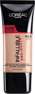 L'Oreal Paris Makeup Infallible Pro-Matte Liquid Longwear Foundation, Shell 106.5, 1 fl. oz.
