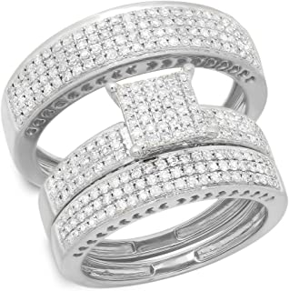Dazzlingrock Collection 1.10 Carat (ctw) 14K Gold Round White Diamond Ladies & Mens Engagement Ring Trio Set Band 1 CT