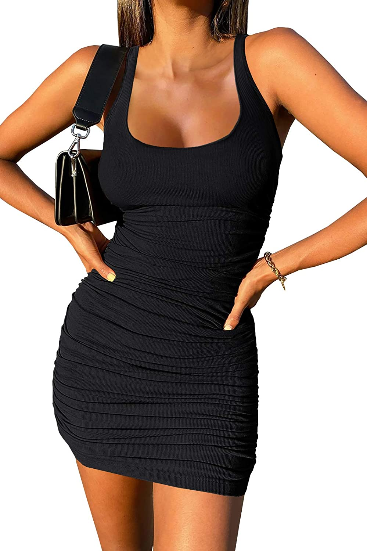 Wenrine Womens Crew Neck Sleeveless Bodycon Dress Ribbed Slim Fit Ruched Stretchy Party Club Short Mini Dress
