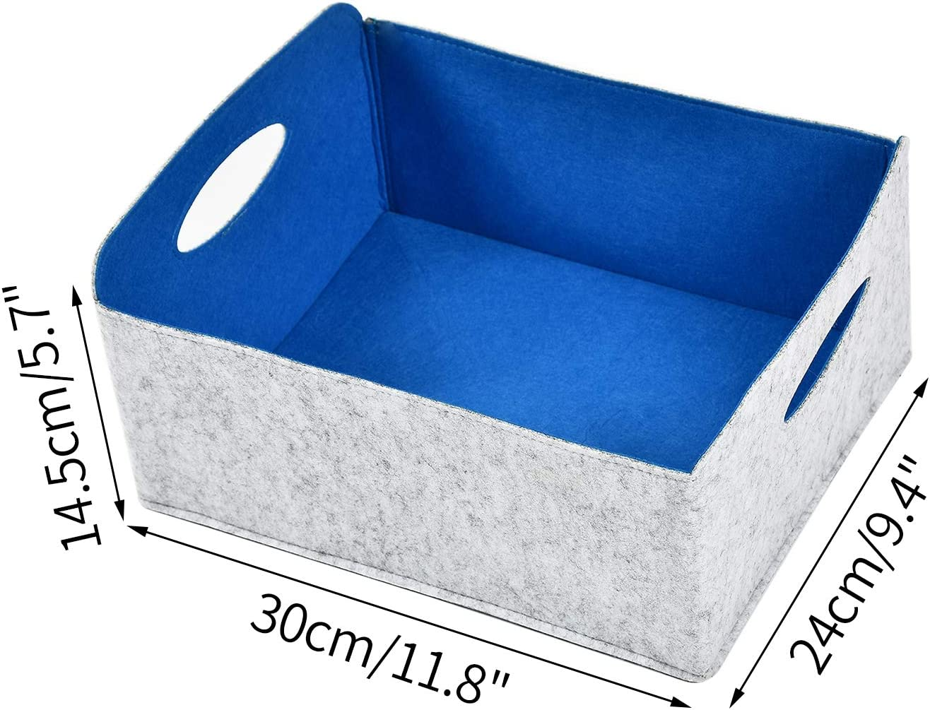 Dake Felt Basket Storage Storage Box with Handles Foldable Open Laundry Hamper for Underwear Socks Towel Toy Organizers Blue