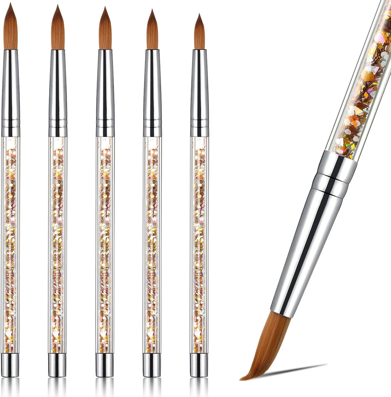 5 Cepillo de Uñas de Acrílico de Diferentes Tamaños para Pincel Redondo de Pedicura Manicura en Polvo con Manija de Brillo para Uñas DIY (Oro)