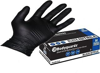Bodyguard Gl8972 Nitrile Disposable Gloves, Powder Free, Size M, Black, 100 Pieces