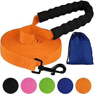 Pawia Long Dog Leash with Padded Handle Check Cord 1 Inch Nylon Training Lead Heavy Duty Leashes for Medium Large Dogs Black Orange Pink Blue Lime Green