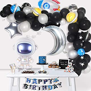 Space Party Supplies - 89Pcs Outer Space Party Decorations Solar System Happy Birthday Banner Rocket Balloons Astronaut Balloon Latex Balloons Strip Set by QIFU