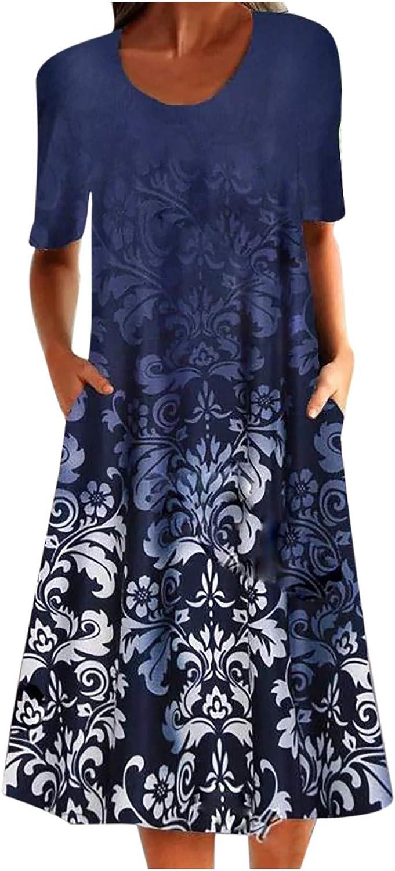 Women Summer Casaul Half Sleeve O-Neck Midi Slim Dress Retro Floral Printing Knee-Length Dress