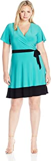 Star Vixen Women's Plus Size Sleeve Surplice Bodice Short Dress with Contrast Black Tie Belt and Hem