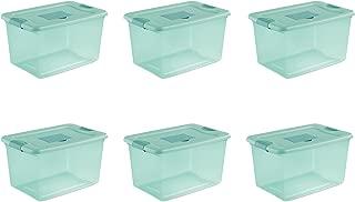 Sterilite 15077Y06 64 Qt, 61L Fresh Scent Box, Aqua Tent base with Aqua Chrome Lid & Teal Splash Latches, 6-Pack