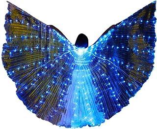 Harpily Donne Abiti da Ballo Donne Angelo Luce LED Ali di Pancia Costume di Danza Danza del Ventre A 360 Gradi Sticks Forniture Danza Props Tinta Unita