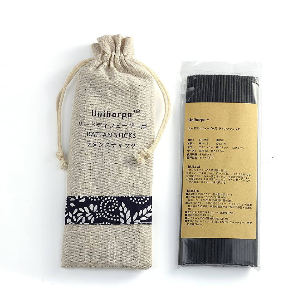 リードディフューザー用 ラタンスティック/リードスティック リフィル 繊維素材 22.5cm 直径3mm 100本入 乾燥剤入り オリジナル旅行専用袋付 (ブラック)