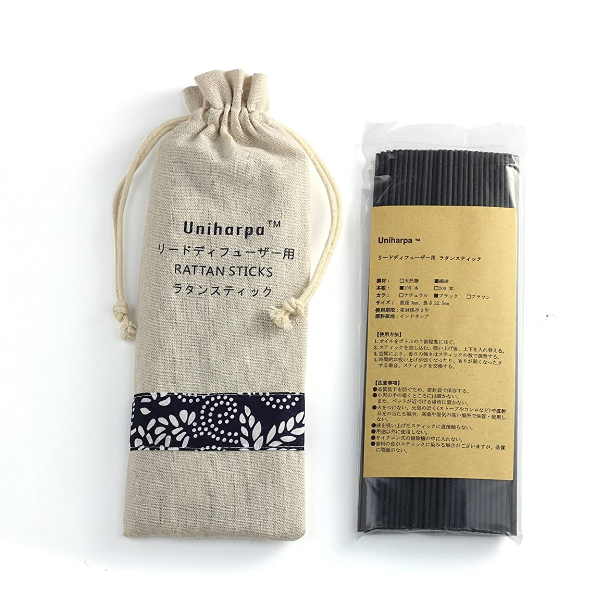 言い訳歌詞アカデミーリードディフューザー用 ラタンスティック/リードスティック リフィル 繊維素材 22.5cm 直径3mm 100本入 乾燥剤入り オリジナル旅行専用袋付 (ブラック)