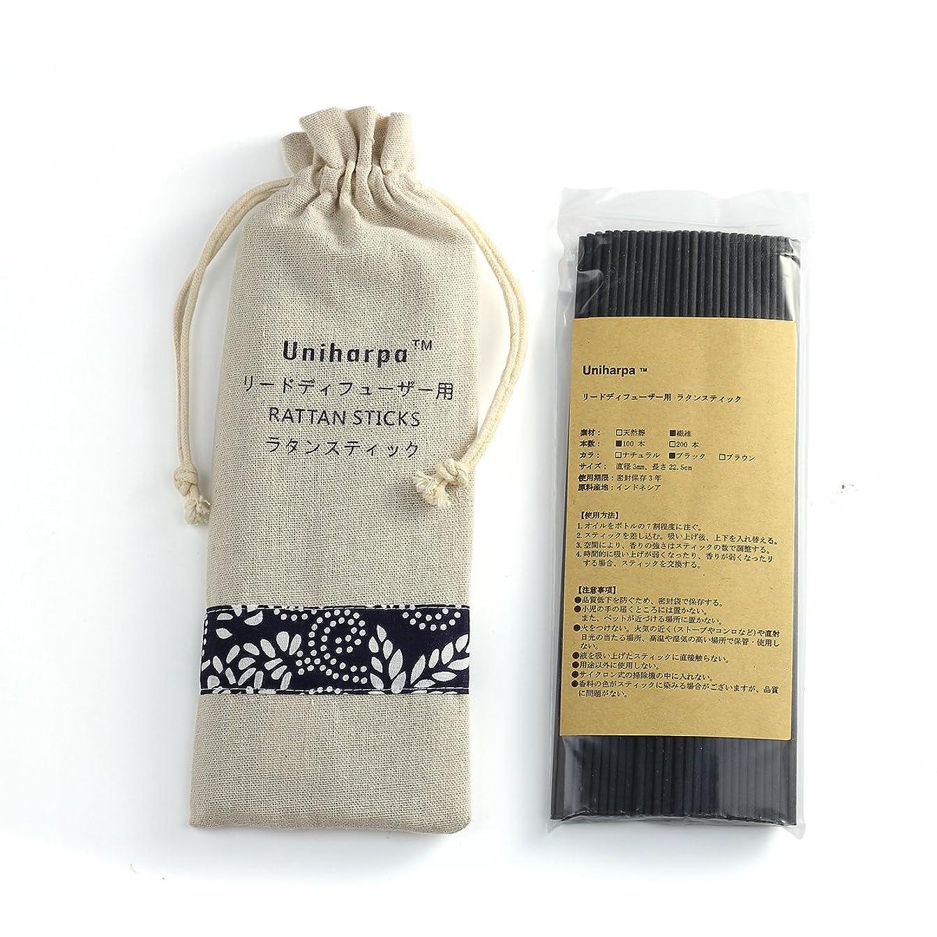 偏差木製ご近所リードディフューザー用 ラタンスティック/リードスティック リフィル 繊維素材 22.5cm 直径3mm 100本入 乾燥剤入り オリジナル旅行専用袋付 (ブラック)