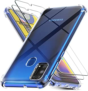 MARGOUN Cases for Samsung Galaxy M31 with 2 Pack Screen Protector, Clear Samsung Galaxy M31 Case Cover, Tempered Glass Film