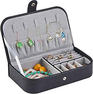 Watpot Jewelry Travel Case Organizer for Women - Portable Leather Jewellery and Accessories Box, Black