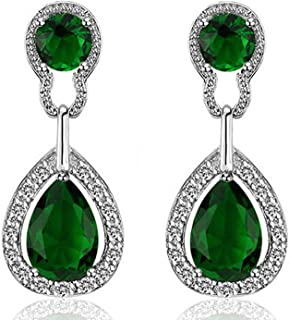 Sukkhi Crystals from Swarovski Drop Down Platinum Plated Earring for Women and Girls (E80772)