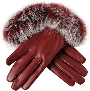 Loneflash Fashion Women Lady Black Leather Gloves Autumn Winter Warm Rabbit Fur Mittens Gloves
