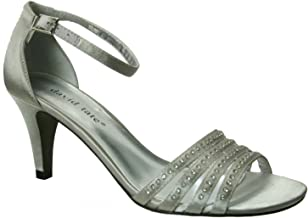 David Tate Womens Terra Fabric Open Toe Special Occasion, Silver Satin, Size 7.5