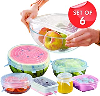 Orblue Silicone Stretch Lids, 6-Pack of Various Sizes for Different Shapes of Containers – Eco-friendly, BPA-free and Leak-proof (Clear)