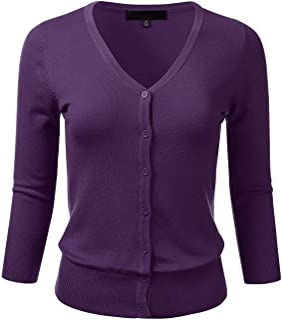 980cf619dec FLORIA Women s Button Down 3 4 Sleeve V-Neck Stretch Knit Cardigan Sweater (