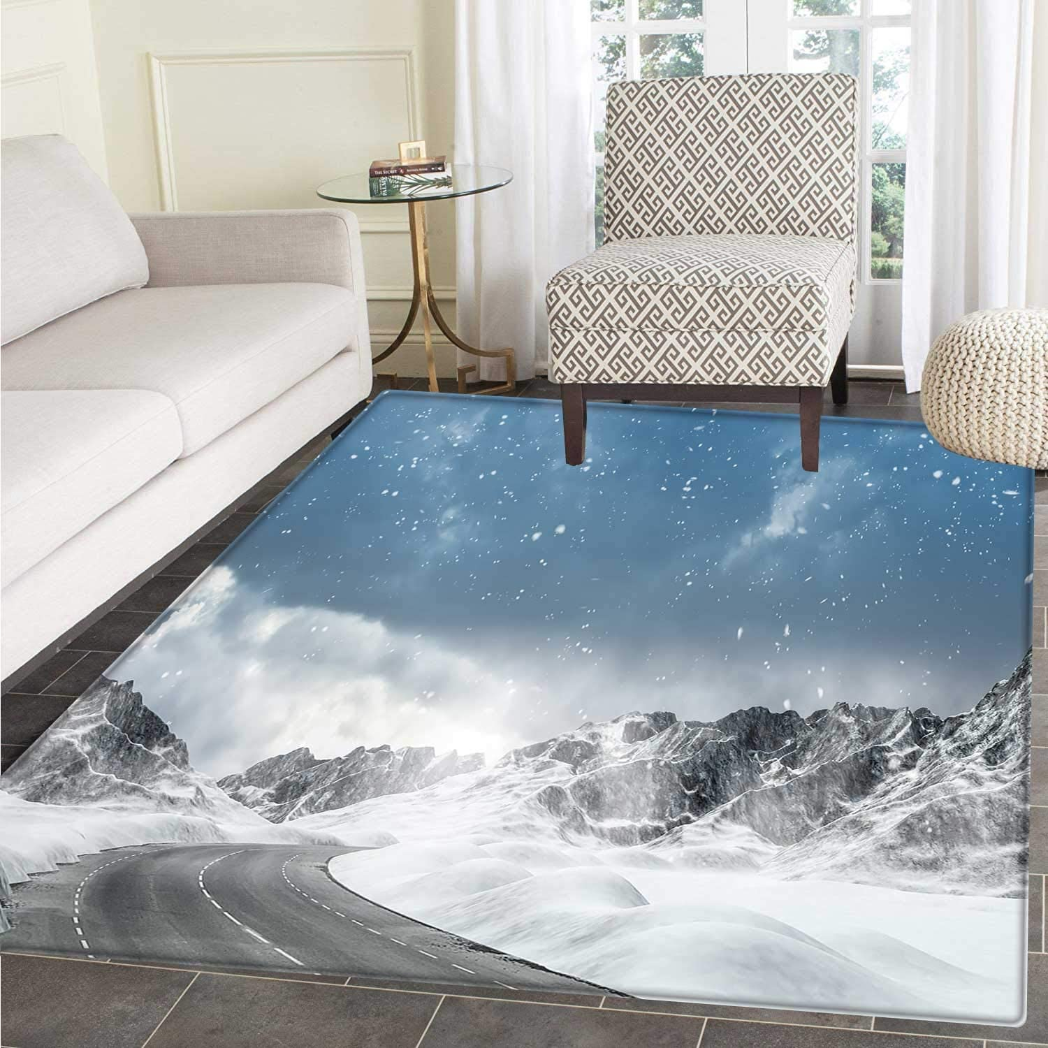 Winter Small Rug Carpet Seasonal Computer Generated Image Mountains Snowy Road Curved Road Transportation Floor Mat Rug Indoor Front Door Kitchen Living Room Bedroom Mats Rubber Carpe Non Slip