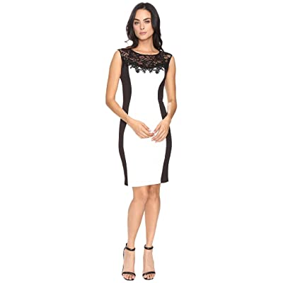Sangria Scuba Sheath Dress (Black/Ivory) Women