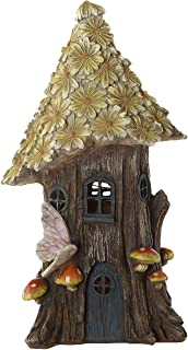 Topadorn Miniature Fairy Garden Flower Solar Powered Garden Statue House,Wild Chrysanthemum
