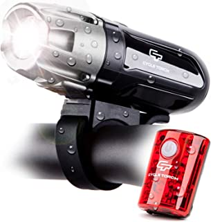Cycle Torch Shark 550R USB Rechargeable Bicycle Lights Set, Super Bright Headlight & Taillight, LED Tail Light Included, 2400mah Battery, 4 Light Mode Options, IPX5 Water Resistant, Quick Release